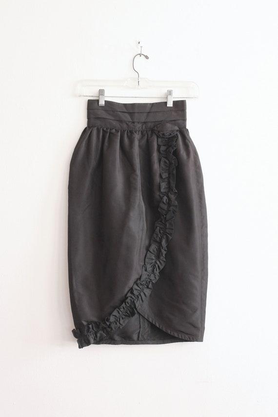 vintage '80s black taffeta tulip skirt / Gunnies -