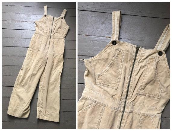 vintage '70s corduroy overalls, slim fit overalls,