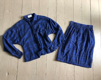 vintage 80s GYPSY COLLECTION, Pier 1 Imports, flannel skirt and top, blue plaid flannel skirt set, xs/xxs