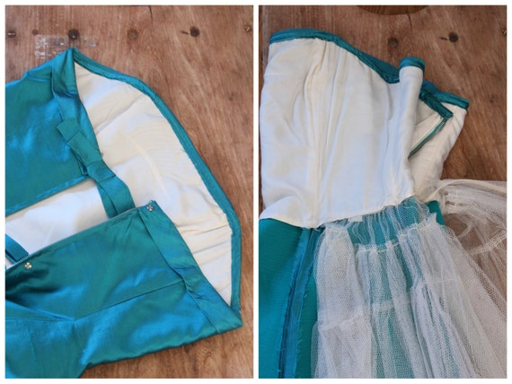 vintage 50s strapless prom dress - 1950s teal sil… - image 5