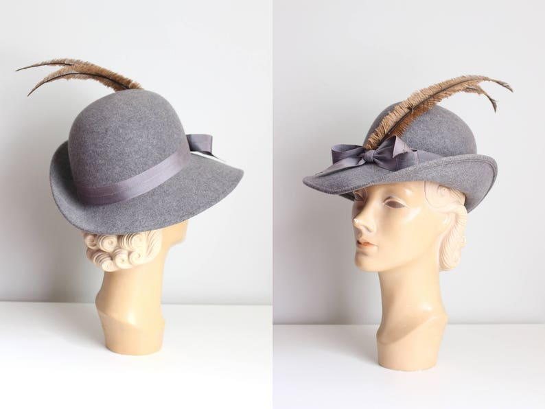 42a10570f71 Vintage gray wool feather hat 50s long plume hat   Bellini