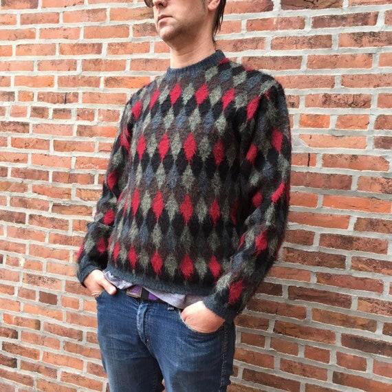 vintage 50s 60s diamond pattern sweater - mod swea