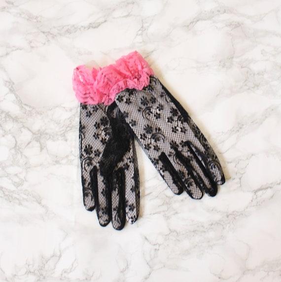 vintage 80s lace gloves -  vintage prom gloves / G