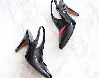 1950s black patent leather slingback heels- '60s Stanley Philipson designer shoes, 5B