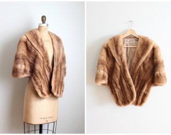 vintage 1950s caramel mink stole - champagne silk satin lining / 1950s mink capelet / vintage ruffled fur stole - winter fur wrap
