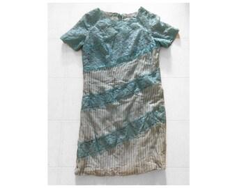 vintage 1950s aqua lace sheath dress   '50s handmade pin tucked pale blue silk dress, Halloween costume, M