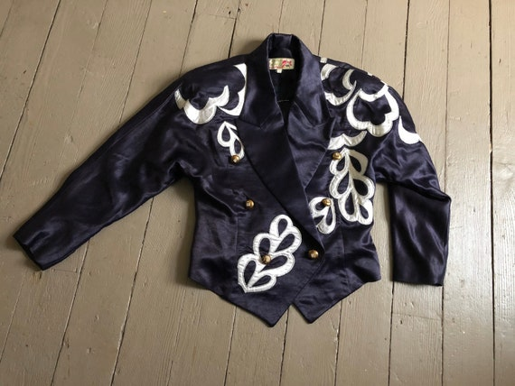 vintage '80s statement jacket, silk satin jacket -