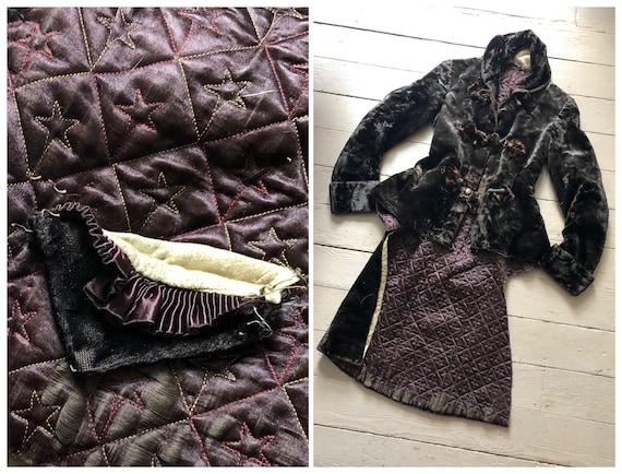 antique Victorian espresso mohair velvet tailcoat