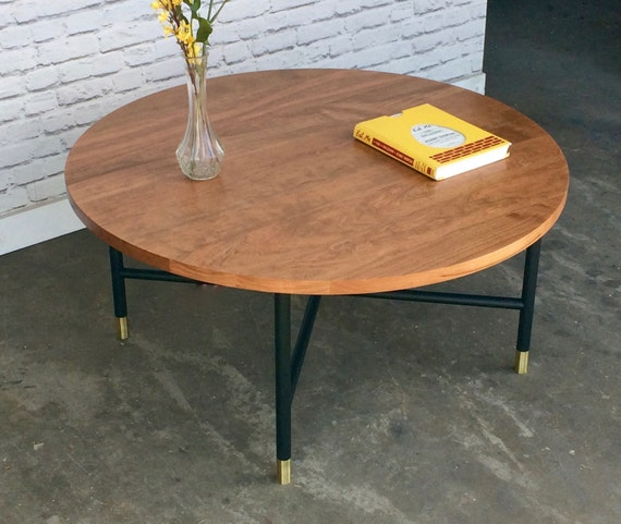 Etsy Round Coffee Tables: Round Coffee Table Metal Base Brass Ferrules