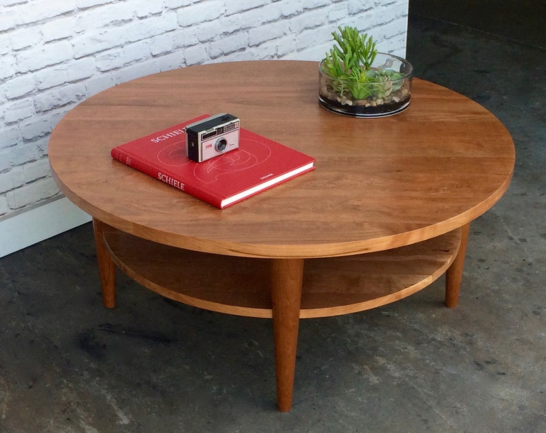 Cherry Coffee Table.Round Coffee Table Oxelaand Solid Cherry