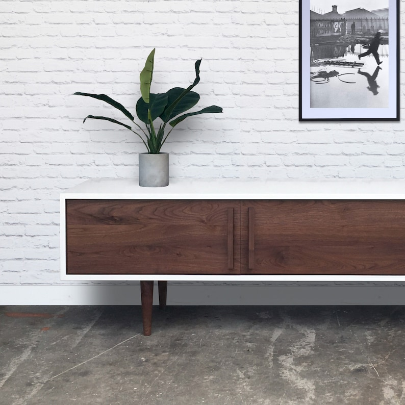 Kasse TV Stand in White / Walnut Combo image 0