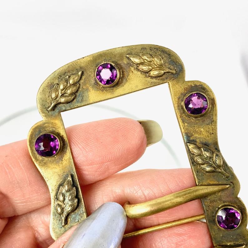 Antique Victorian Amethyst Glass Gilt Belt Buckle Brooch