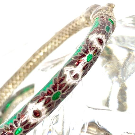Makara Head Guilloche Enamel Bracelet, Sea Creatur