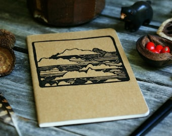 Clouds in the Sky Brown Notebook Moleskine Journal Hand Carved Camping Nature Cloudy Hiking Trail Camp Travel Journey