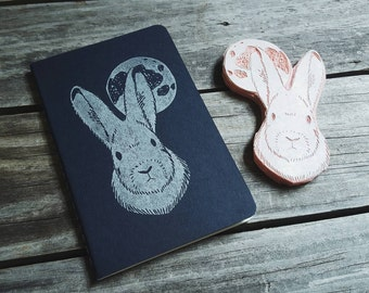 Arctic Hare Blue Notebook Moleskine Journal Hand Carved Linocut Men Dad Father's Day Writer Student Gift Present