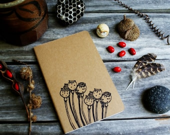 Poppy Flower Pod Notebook Moleskine Journal Hand Carved Rustic Nature Floral Garden Hike Camping Vacation