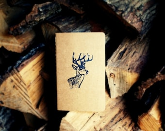 White-Tailed Stag Buck Deer Woodland Rustic Nature Notebook Moleskine Journal - Pocket Size - Hand Carved Stamp