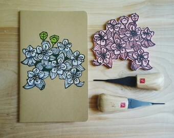 White Milkweed Flower Large Moleskine Notebook Journal Handcarved Hand Colored Gardener Garden Wildflower Gift Present Christmas