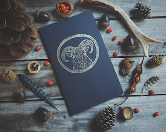 Golden Bighorn Sheep Ram Large Notebook Moleskine Journal Hand Carved Linocut Nature Christmas Hostess Present Autumn Writer