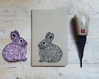 Columbia Basin Pygmy Rabbit Notebook Moleskine Journal Hand Carved Linocut Nature  Camp Outdoors Camping Birthday Gift Boys Men Women