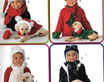 f5072d4820 Simplicity 3973 Childs Winter Hat Scarf Mittens Matching Dog Coat  Accessories