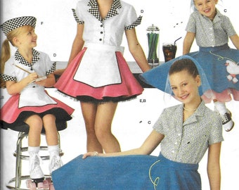 f76c4af74ea8 Simplicity 3836 Childs Girls 50's Diner Poodle Skirt Car Hop Costume Sewing  Pattern UNCUT Size 3, 4, 5, 6