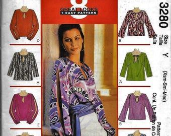 5482e6d7df914 McCall s 3280 Misses Blouse Top Shirt Keyhole Neck Sewing Pattern UNCUT  Size XS