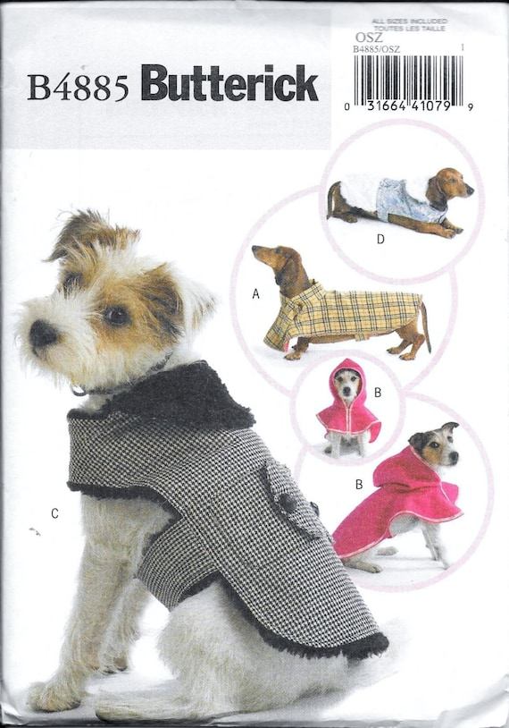 d3599c85778 Butterick Sewing Pattern B4885 Dog Coats Hoodie Hood Clothes