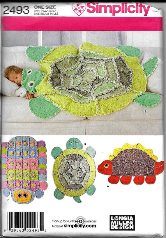 Simplicity 2493 RAG QUILT Rug Blanket Sewing Pattern Turtle | Etsy