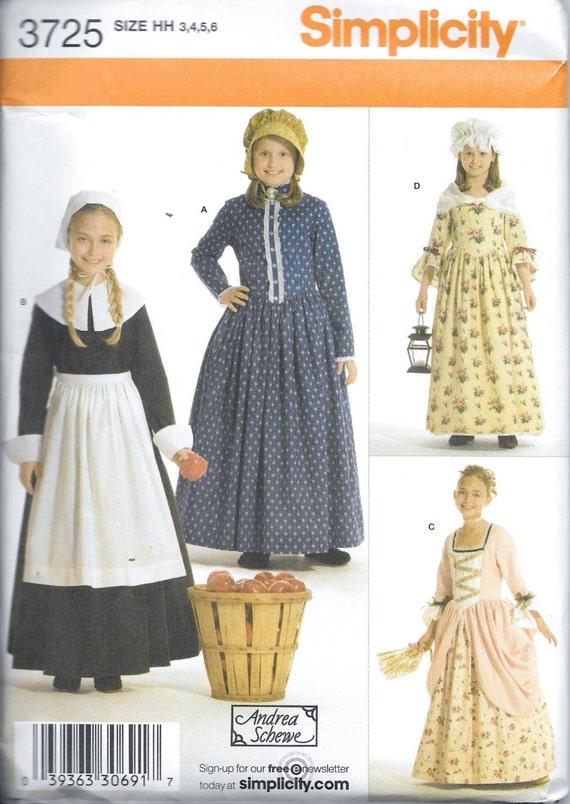 Simplicidad 3725 chicas peregrino patrones traje Colonial | Etsy