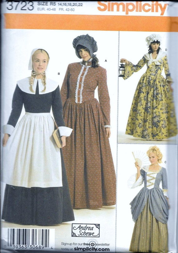 Simplicity Pattern 3723 Pilgrim Colonial French Pioneer Adult Etsy