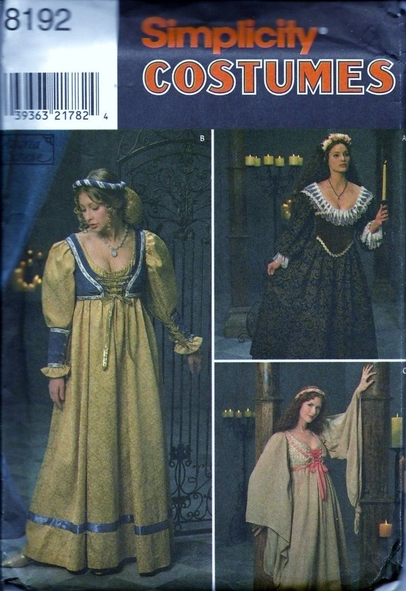 Sewing Misses Medieval Dresses Size 10-14 Uncut Sewing Patterns