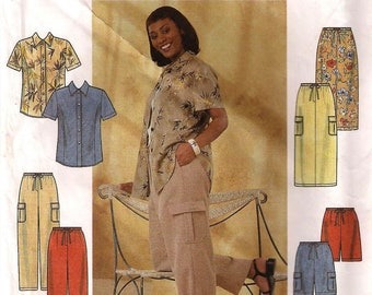 Simplicity 8659 Women's Full Figure Shirt, Pants or Shorts and Skirt Sewing Pattern UNCUT Plus Size 26, 28, 30, 32