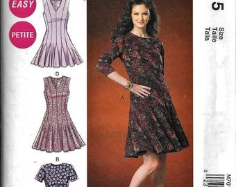 McCall's M7015 Misses Flared Pleated Hem Dress Sewing Pattern 7015 UNCUT Plus Size 14, 16, 18, 20, 22