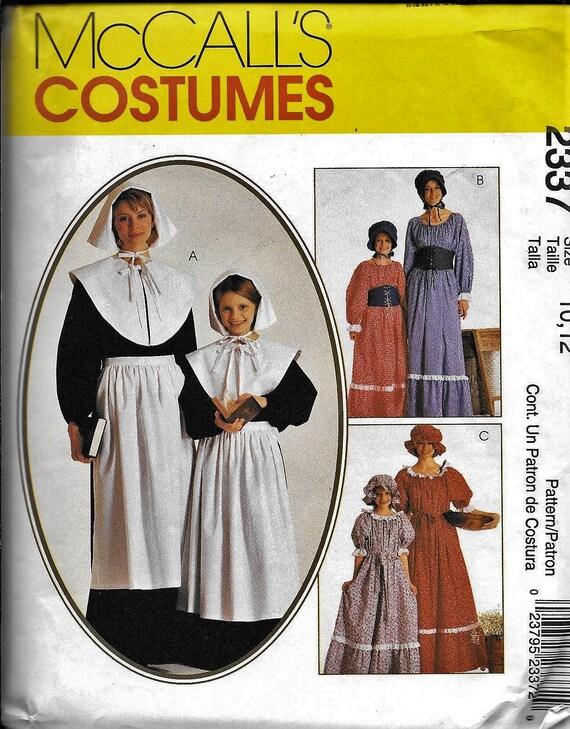 PATTERN for Misses Pioneer Costume McCalls 9423// 7220 dress apron bonnet Western