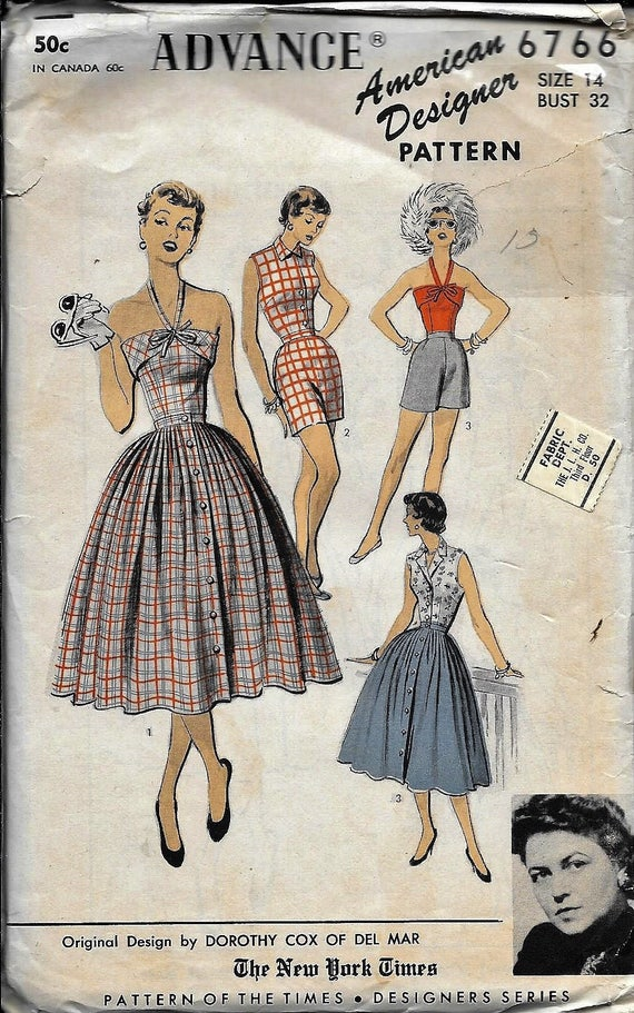 size 6-20 vintage style B5209 Retro sewing pattern 50s 40s halter neck dress