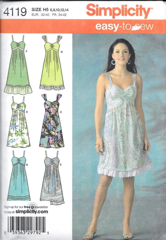 Simplicity 4119 Misses BOHO High Waist Dress Sundress Sewing Pattern ...