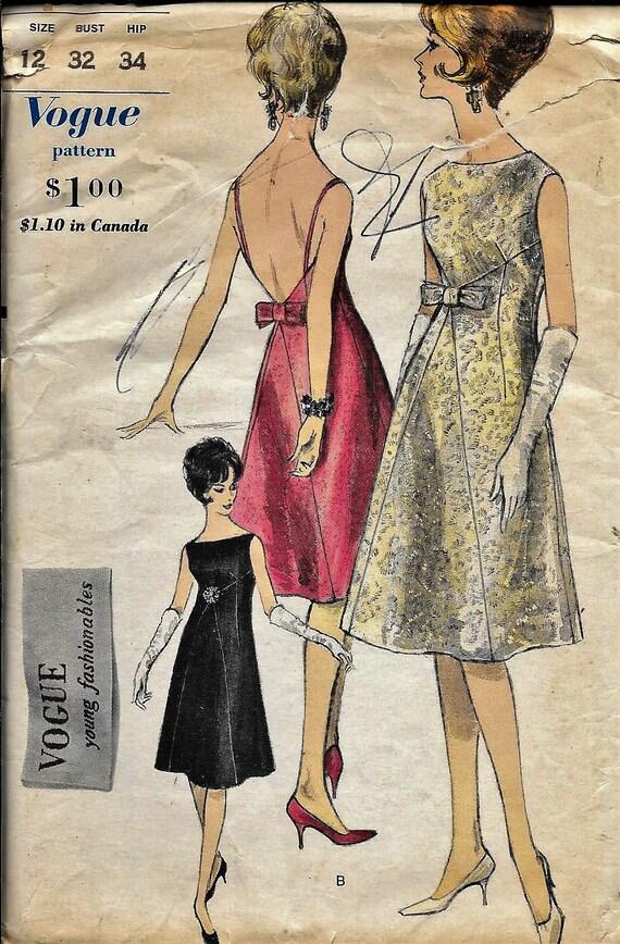 Jahrgang 1960 s Vogue 5643 Designer Abend-Kleid Nähen Muster | Etsy
