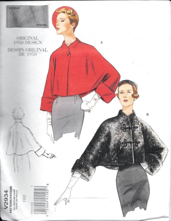 Vogue V2934 Original Vintage 1950 Designs 50s Evening Coat | Etsy