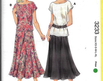 Kwik Sew Start 3323 Learn to Sew Pullover Top Boat Neckline & Gored Flared Skirt Sewing Pattern UNCUT Size XS, S, M, L, XL