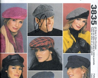 McCalls 3835 Misses & Mens Lined Caps Sizes 22 inch, 23 inch and 24 inch Uncut Pattern Millinery News Boy Hat Motorcycle