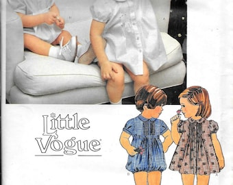 Little Vogue 2152 Girls Toddler Infant Baby Dress And Panties And Romper With Belt And Transfer Sewing Pattern UNCUT Size 3