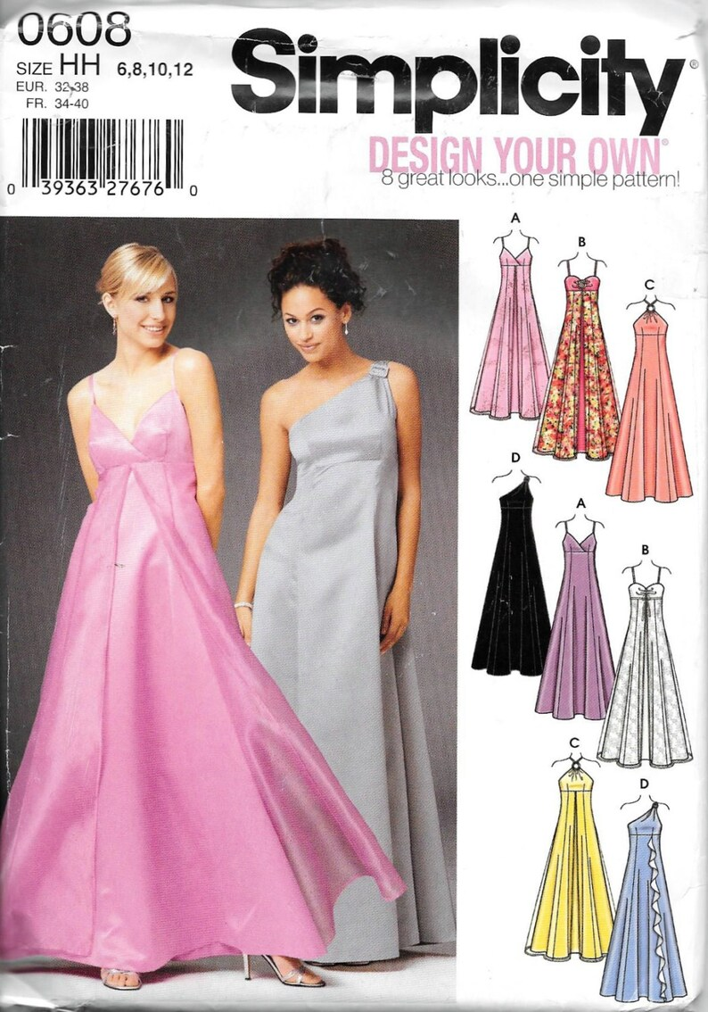 1d5c8aa4a17 Simplicity Dress Off Shoulder Evening Prom Gown Pattern 0608