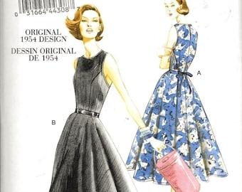 Vogue V8788 / VP961  Vintage 1950s Back Wrap Flared Dress Sewing Pattern UNCUT Size 14, 16, 18, 20 and 22 Rockabilly