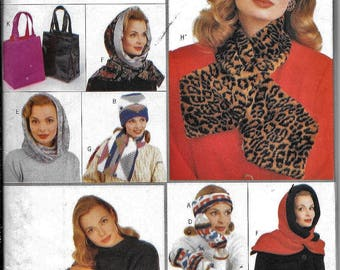Butterick 4184 Winter Hat Scarf Booties Mittens Bag Purse Tote Sewing Pattern UNCUTN