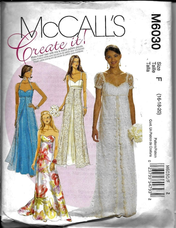 Mccalls M6030 Pattern Titanic Bridal Wedding Formal Evening Etsy