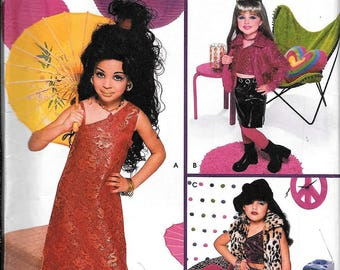Simplicity 5354 Kids Girls Bratz Rocket Barbie Costume Dress, Skirt, Top & Hat Sewing Pattern UNCUT Size 3, 4, 5, 6, 7, 8