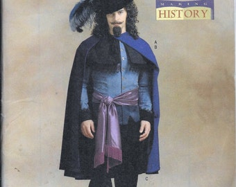 Butterick Sewing Pattern 4541 Mens Musketeer Delano Cavalier Costume Size 40, 42 and 44 Making History Historical Renaissance