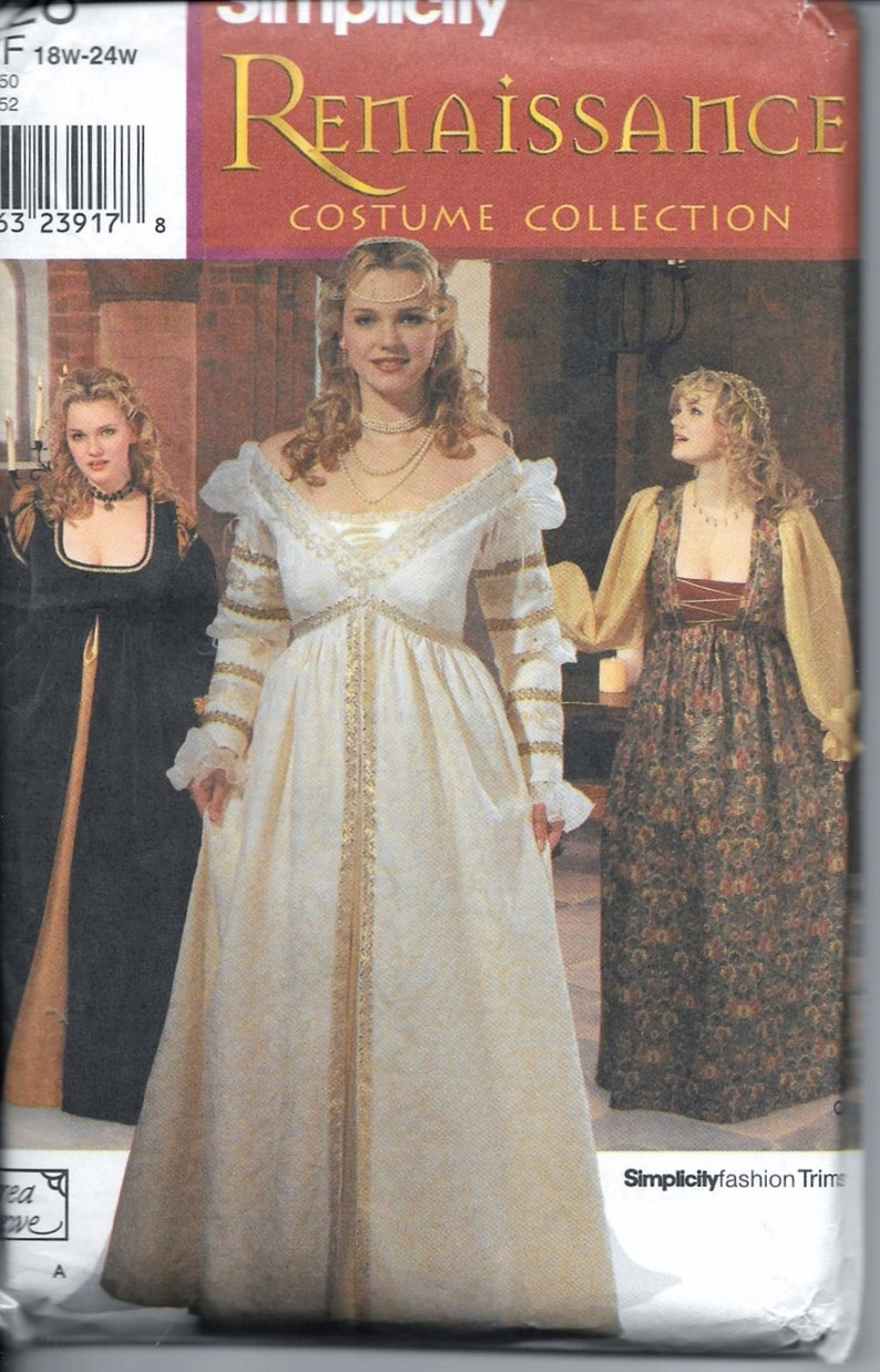 Renaissance Wedding Dress.Simplicity 9228 Renaissance Wedding Gown Plus Size 18w 20w 22w 24w Historical Andrea Schewe Medieval Sca Lotr