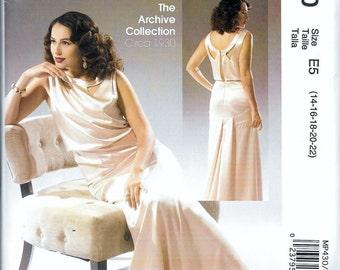 McCalls Pattern M7154 / MP430 Misses Retro Evening Dress Gown Circa Vintage 1930s Size 14, 16, 18, 20 and 22 UNCUT